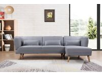 Cove 3 Seater Corner L Shape Sofa in Grey Fabric with Wooden Legs & Right Hand Chaise