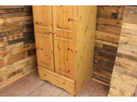 Double Pine Wardrobe With Drawer