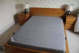 IKEA MALM DOUBLE BED FRAME AND MATTRESS – OAK VENEER – EXCELLENT CONDITION