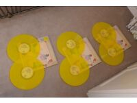 3 ELTON JOHN YELLOW VYNYL RECORDS FOR SALE. IMMACULATE CONDITION