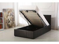 Faux Leather Ottoman Storage Bed Gas Lift Up-White Single + Orthopaedic Mattress