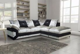 Cheapest Price Offered! Brand New Dino Crushed Velvet Corner Sofa Or 3 and 2 Seater Sofa