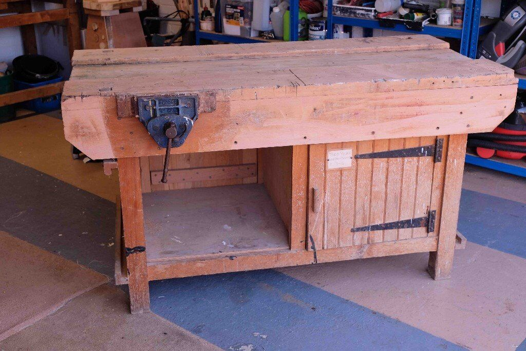 Solid Vintage School Woodworking Bench With Vice In Fulwood