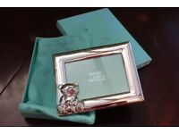 New Silver Plate Teddy Bear Baby Picture Frame