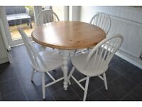 Round Solid Pine Table and 4 Chairs - Shabby chic/farmhouse