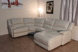 Ex-display Ronson bisque standard leather corner sofa