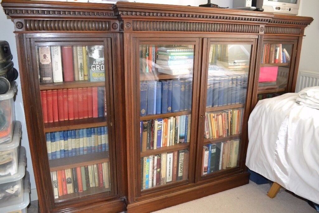 Antique Breakfront Bookcase - large with Glazed doors