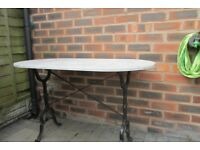 garden table wrought iron legs with marble top