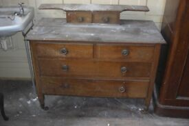 beautiful solid oak period dresser or chest on castors for a small project can deliver