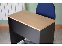 Small Desk On Wheels Office Furniture Table Business Wood Black