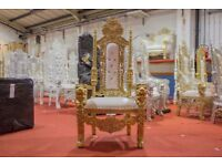 2 x New Gold Lion Queen Throne Chair Wedding Events Luxury Ornate Carved Furniture Italian Throne