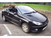 Peugeot 206cc 1.6 cabriolet convertible 2003 03 reg black manual