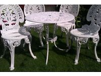 Cast garden furniture set four chairs & table in white