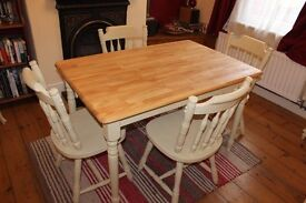 Shabby chic farm house table with two drawers and four chairs