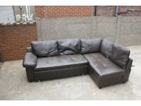 Brown Leather Corner Sofa Bed