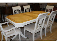shabby chic extending table and six beautiful chairs