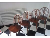 Set of Four Retro Vintage Mid Century Ercol Elm Dining Chairs