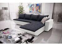 Corner sofa bed sofa bed UK STOCK 1-5 DAY DELIVERY(Black-White)