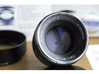 Zeiss 50mm 1.4 ZF.2 Nikon mount; boxed and Mint- condition