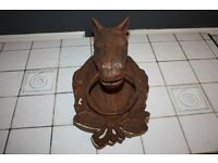 Antique Cast Iron Horse Head Bust Decorative Garden Wall Mounted Ornament