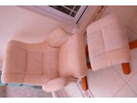 Recliner chair, with foot stool in cream cloth RE ADVERTISED DUE TO TIME WASTERS
