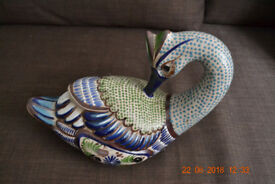 Hand Painted Mexican Swan Pottery