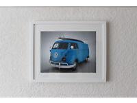 Blue VW Camper Van with Surfboard - Original 3D Digital Art Picture Limited Print Framed