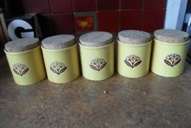 x5 lovely bright yellow herb jars - Just £15