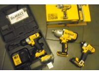 dewalt cordless impact wrenches x 3 18v li-ion new