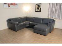 Ex-display Natuzzi Sensor dark grey leather electric recliner chaise corner sofa
