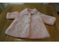 Gorgeous Little Girl's Pink Fur Coat By Jingles Size 12 mths