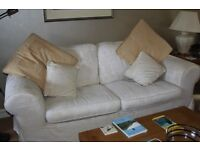 Cream Sofa for sale ( 2 cushions although 3 seater ) Washable Linen fabric . 2 cushions
