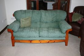 DUCAL 3 Seater Sofa - Rosewood Frame/Green Fabric