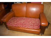 Genuine leather vintage sofa and armchair