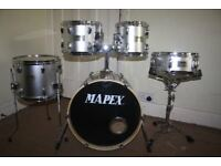 Mapex V Silver 5 Piece Full Drum Kit (18in Bass) complete with all Stands + Stool + Cymbals