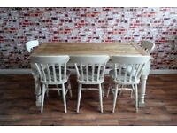 Up to Twelve Seater Rustic Farmhouse Extending Dining Table Set - Brand New