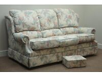 FREE - SOFA, ARM CHAIR AND FOOT STOOL (CAN DELIVER FOR PETROL MONEY)