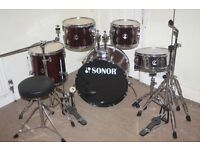 """Sonor Force 507 Wine Red 5 Piece Complete Drum Kit (20"""" Bass) + All Stands + Stool + Cymbal Set"""