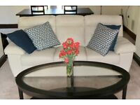 Off white leather sofa, love seat, Arm chair and ottoman - Save money - exceptional condition!!