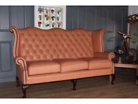 chesterfield suite: 2 highback sofas tan leather