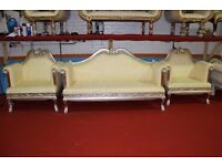 3 Piece Ex Display Asian Wedding Sofa Chaise White Ivory Queen Indian King Stage Set Suite French