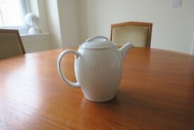 White Denby 1l Teapot, Sugar Pot, milk jug