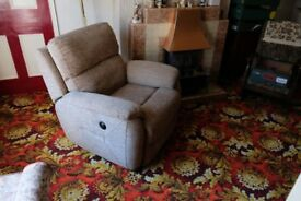 Navona Power Recliner Chair Beige Flecked Fabric, Very Good Condition