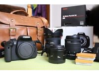 As new Canon 700D + 3 lenses, full set, extra batteries, original packaging
