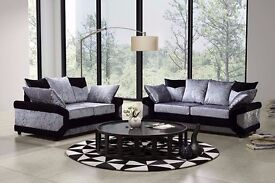 "Fantastic Dino crushed velvet 3+2 seater sofa in ""Black and silver"" color!! ""Express Delivery"""