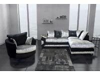 GET YOUR ORDER TODAY-- Brand new Dino Crushed Velvet 3 + 2 Sofa Or Corner Sofa in Black silver
