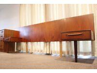 G PLAN FRESCO VINTAGE RETRO TEAK HEADBOARD BEDSIDE TABLES CABINETS 1970s
