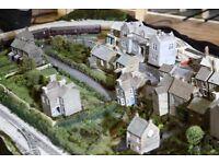 Model Railway Layout Set - 8 foot X 4 foot OO Gauge - two tracks, locomotive and buildings