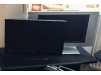 Two TV screens, 19 and 21 inch