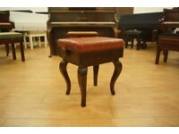 Antique adjustable piano stool - Queen Anne style legs